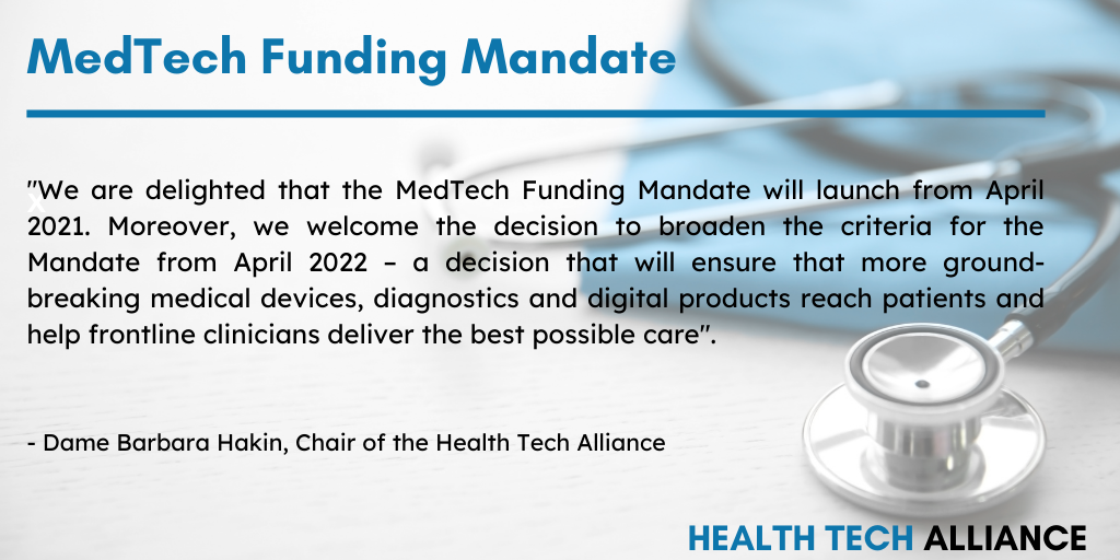 Health Tech Alliance welcomes MedTech Funding Mandate news